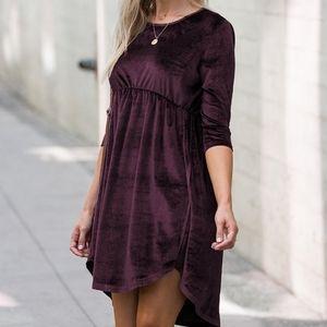 Amaryllis Mauve Elbow Velvet Dress